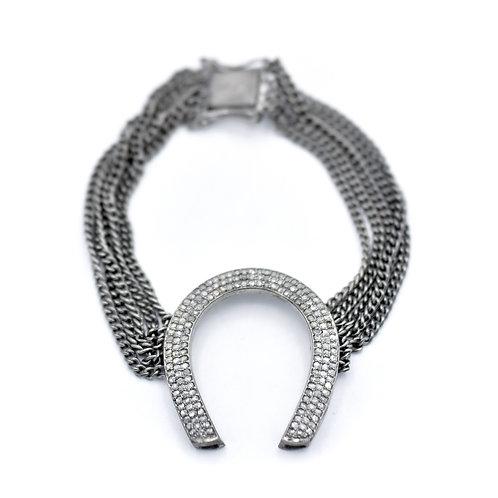 DIAMOND SILVER HORSESHOE CHAIN BRACELET