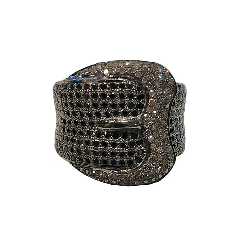 DIAMOND & BLACK SPINNEL BUCKLE RING