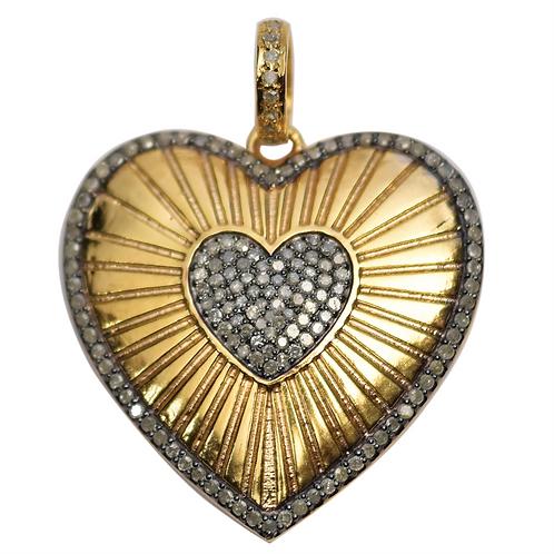 LARGE DIAMOND MIXED METAL HEART