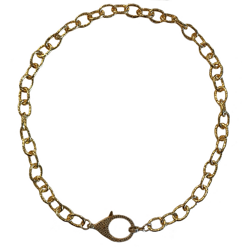 HAMMERED GOLD CHAIN W/ DIAMOND LOBSTER CLAW