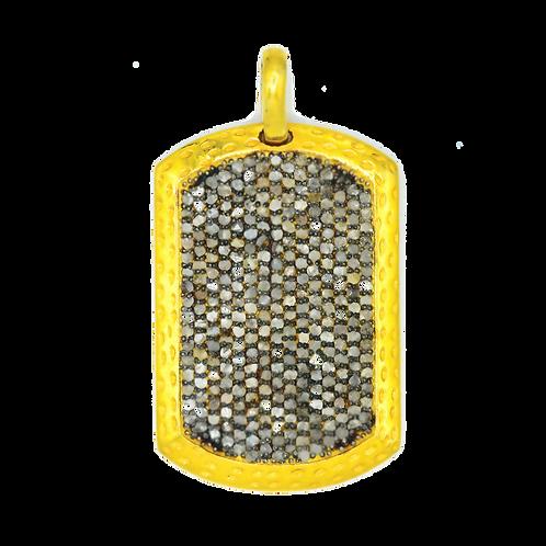LARGE DIAMOND MIXED METAL DOG TAG