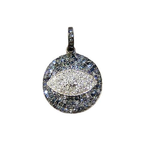SMALL BLUE SAPPHIRE & DIAMOND EVIL EYE