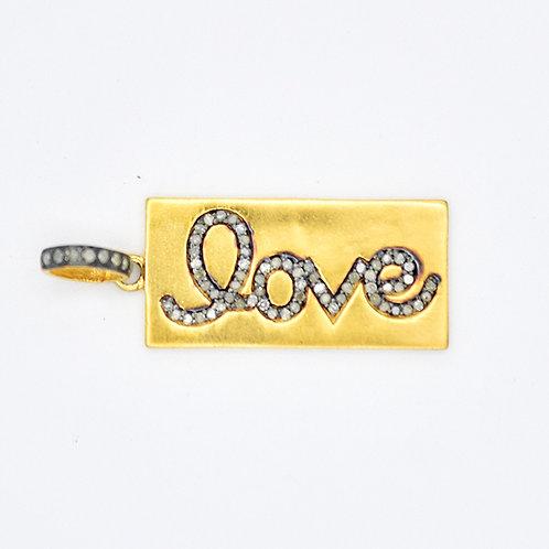 MIXED METAL DIAMOND LOVE TAG