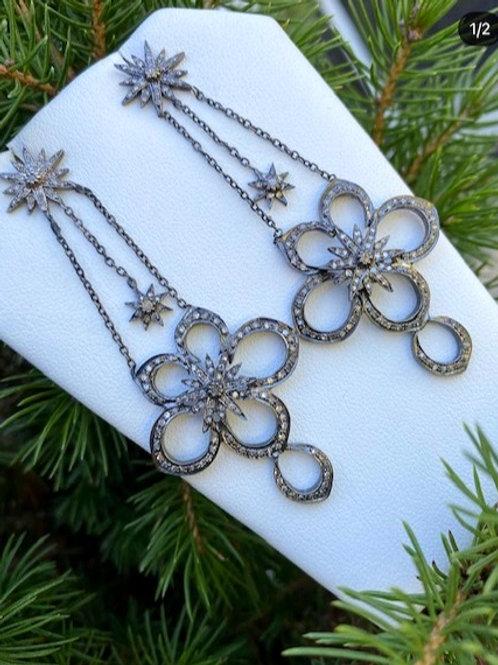 DIAMOND SILVER STARBURST FLOWER EARRINGS
