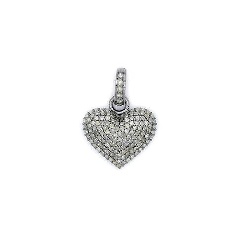 DIAMOND SILVER PUFFY HEART