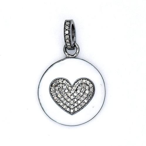DIAMOND HEART ON WHITE ENAMEL