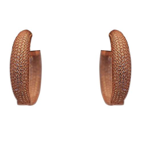 MEDIUM CRYSTAL ROSE GOLD HOOP EARRINGS