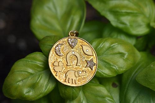 GOLD VERMEIL DIAMOND MULTI-SYMBOL PENDANT