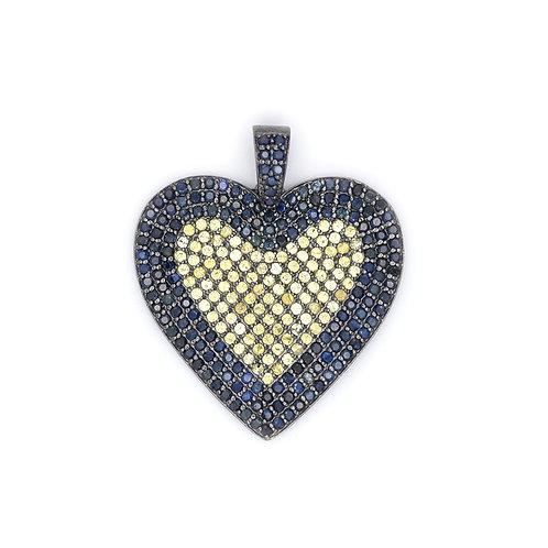 MEDIUM YELLOW AND BLUE SAPPHIRE HEART PENDANT