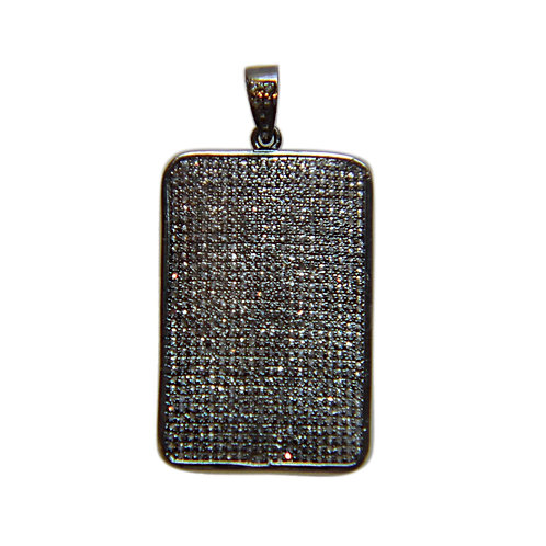 XL DIAMOND SILVER DOG TAG