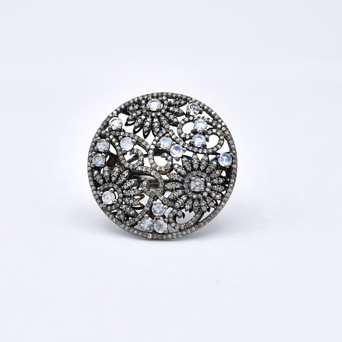 MOONSTONE & DIAMOND FLORAL RING