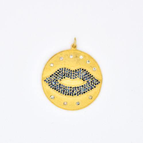 GOLD VERMEIL, BLUE SAPPHIRE, & DIAMOND LIPS PENDANT