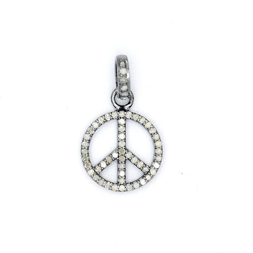 DIAMOND SILVER PEACE SIGN CHARM