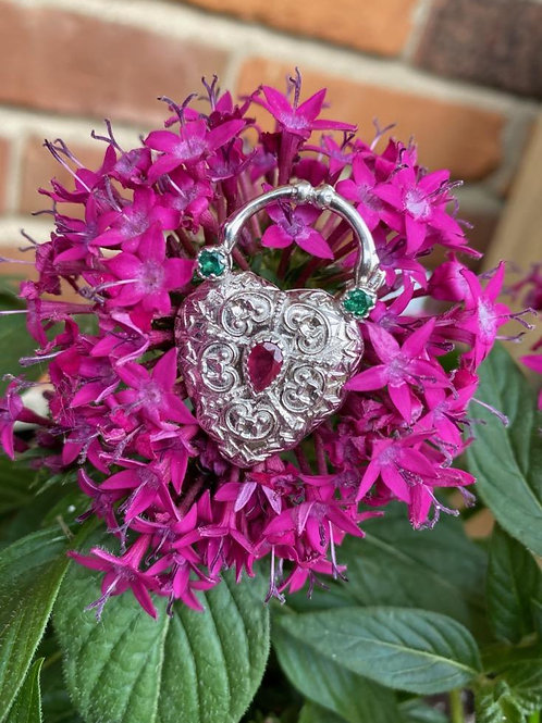 BRIGHT STERLING SILVER LOCKET W/ DIAMONDS, RUBIES, AND EMERALDS