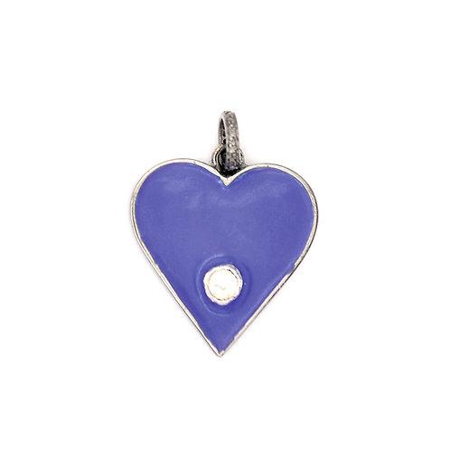 PURPLE ENAMEL HEART W/ DIAMOND -STERLING SILVER