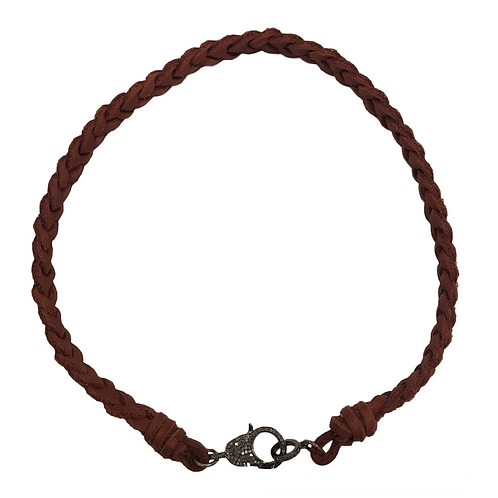 REDDISH BROWN LEATHER & DIAMOND LOBSTER CLAW NECKLACE