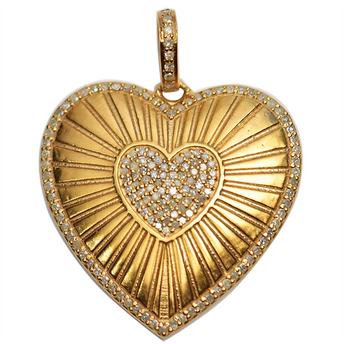 LARGE DIAMOND GOLD HEART