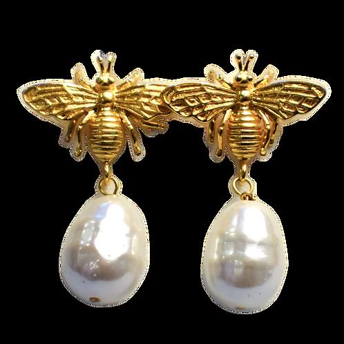 GOLD BEE PEARL EARRINGS
