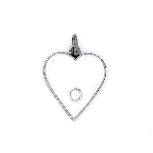 WHITE ENAMEL HEART W/ DIAMOND -STERLING SILVER