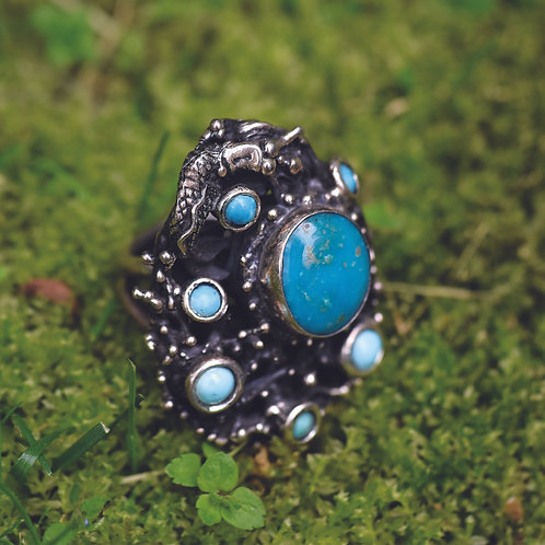 EXTRA LARGE TURQUOISE STERLING SILVER RING