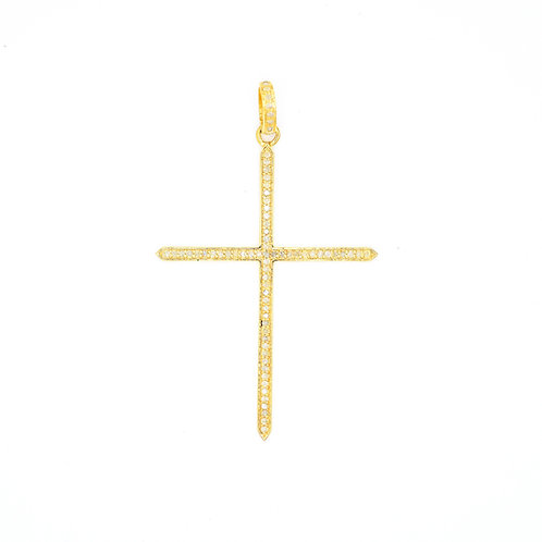 DIAMOND GOLD THIN POINTED CROSS