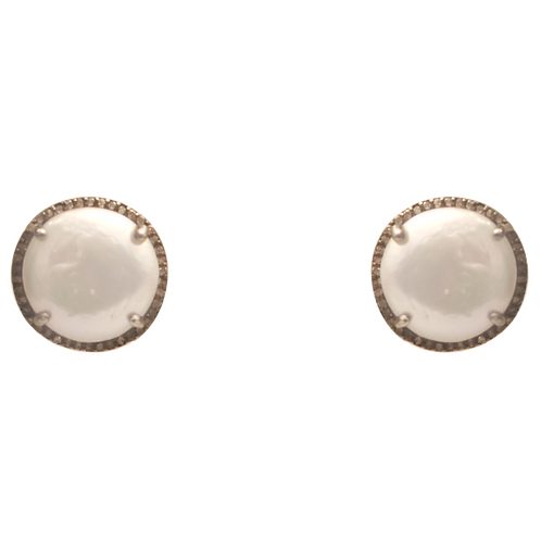 WHITE FRESHWATER PEARL & DIAMOND POST EARRINGS