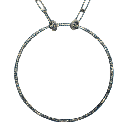 LARGE DIAMOND SILVER CIRCLE PENDANT NECKLACE