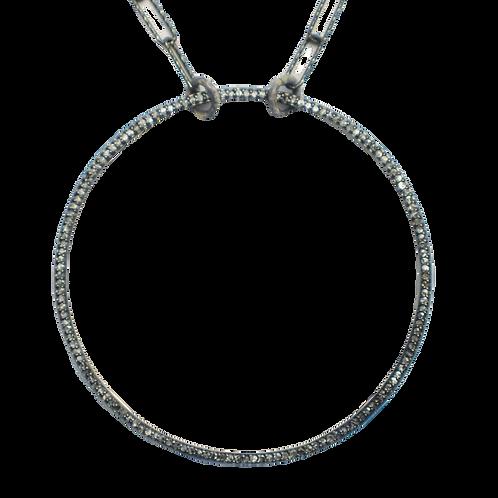 LARGE DIAMOND SILVER CIRCLE PENDANT NECKLACE