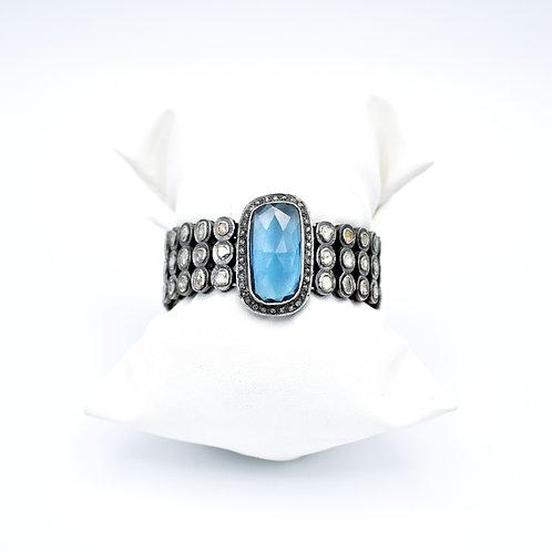 KYANITE & POLKI DIAMOND BRACELET W/ PAVE DIAMOND BOARDER