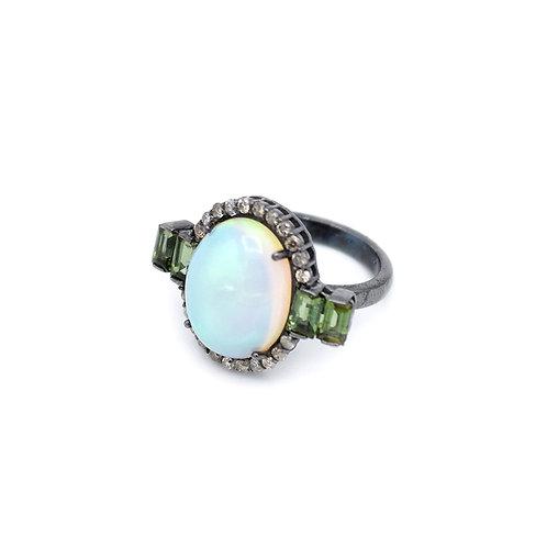 OPAL & EMERALD RING W/ DIAMOND BOARDER