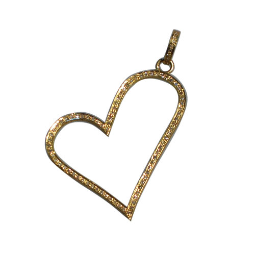 LARGE DIAMOND GOLD OPEN HEART