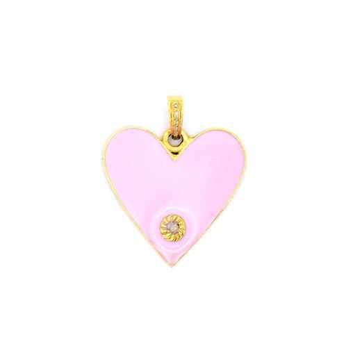 PINK ENAMEL HEART W/ DIAMOND - GOLD VERMEIL
