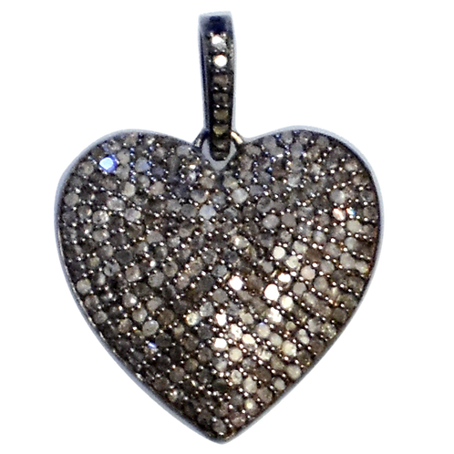 LARGE DIAMOND STERLING SILVER PUFFY HEART