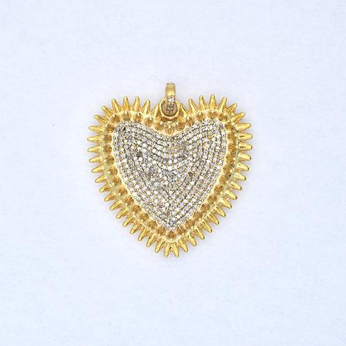 ALL DIAMOND GOLD VERMEIL SPIKED HEART PENDANT