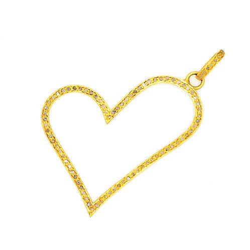 LARGE DIAMOND GOLD OPEN HEART