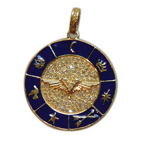 DIAMOND MULTI EMBLEM BLUE ENAMEL