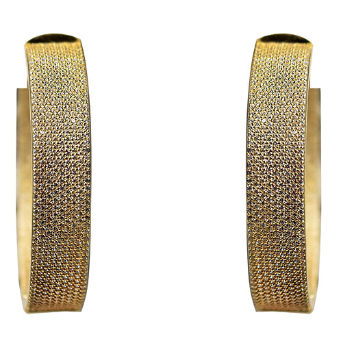 LARGE EXTRA WIDE GOLD CRYSTAL HOOP EARRINGS