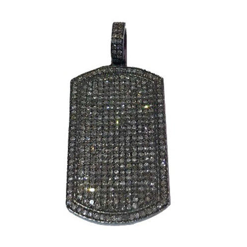 LARGE STERLING SILVER DIAMOND DOG TAG
