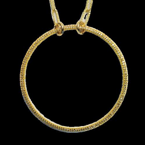 LARGE DIAMOND GOLD CIRCLE  NECKLACE