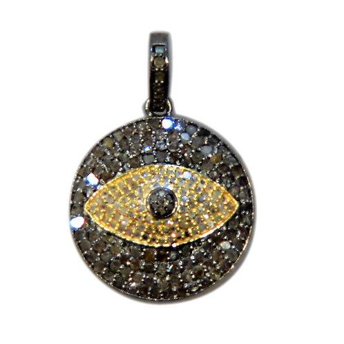 MEDIUM DIAMOND MIXED METAL EVIL EYE