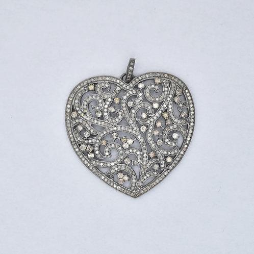 STERLIG SILVER ORNATE DIAMOND HEART