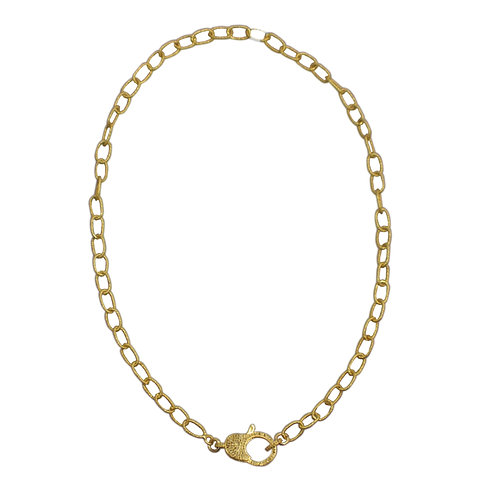 LARGE LINK GOLD CABLE CHAIN W/DIAMOND LOBSTER CLAW