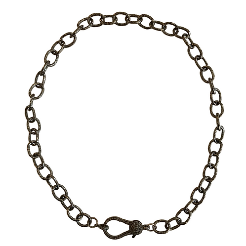 HAMMERED OXIDIZED STERLING SILVER CHAIN W/ DIAMOND LOBSTER CLAW