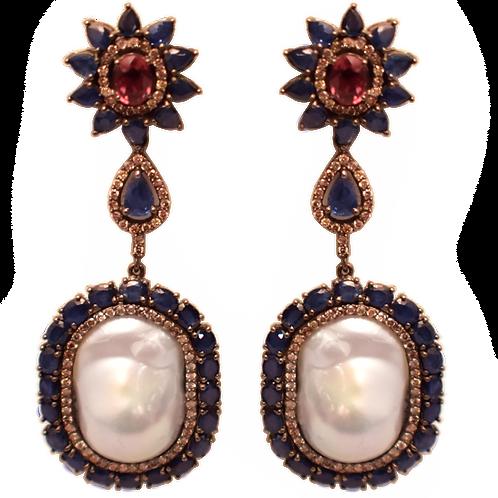 BLUE & PINK SAPPHIRE DIAMOND PEARL EARRINGS