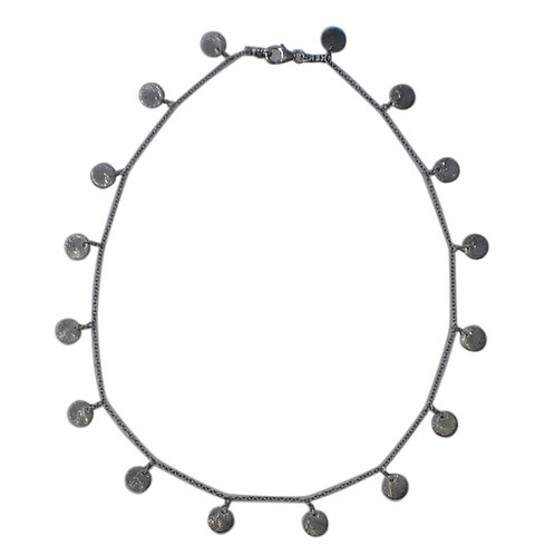 SILVER DISC CHARM NECKLACE