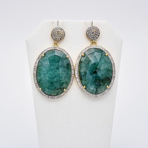GREEN GODDESS EMERALD EARRINGS W/ GOLD VERMEIL & DIAMOND POST/BORDER