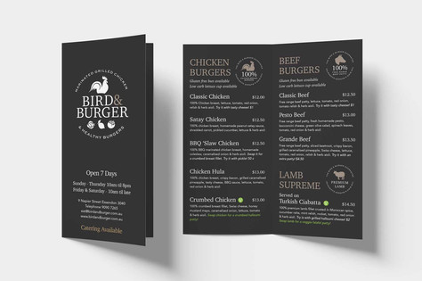 Bird & Burger Menu