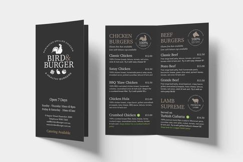 Bird & Burger Menu