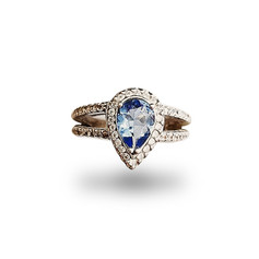 9ct White Gold ring with Blue C/Z Teardrop and White C/Z stones