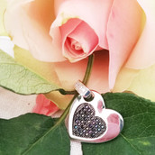 Silver & Black CZ Heart Pendant